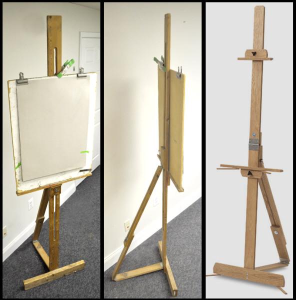 three single-mast easels e