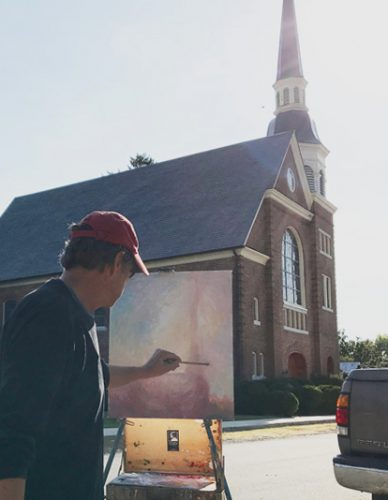 Tim painting his Usher steeple studies